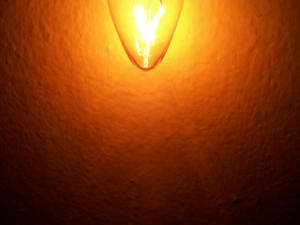 An incandescent bulb switched on