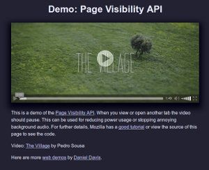 Page Visibility API demo screenshot