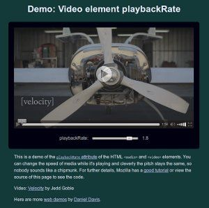 Video playbackRate demo screenshot